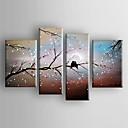 pintura al óleo del paisaje del extracto de aves en el conjunto de árbol de la lona pintada a mano con 4 estirada enmarcada