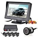 12V 4 Parking Sensors LCD Display Monitor Camera Video Car Reverse Backup Radar System Kit Buzzer Alarm