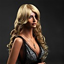 lange blonde bølge syntetiske parykker med side bang