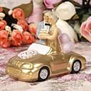 kake toppers lykke golden ekteskap par stående i en gull bil kake topper