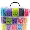 12000pcs coloridos diy cor do arco-íris do estilo tear pulseiras de silicone 12000pcsbands, 12S-clips, um teares, 1hook + 1box