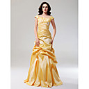 Prom / Formal Evening Dress - Elegant Plus Size / Petite A-line / Princess Off-the-shoulder Floor-length Taffeta withDraping / Pick Up