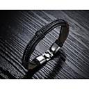 Fashion Men's Black Alloy Leather Bracelet(1 Pc)