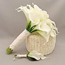 Wedding Bouquet Romantic Callas Holding Flowers and Brooch Pure Handmade