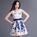 Women's Simplicity Casual Cute Inelastic  Print Contrast Color Slim Sleeveless Above Knee Dress (Polyester)