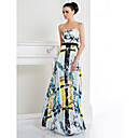 TS Couture® Formal Evening Dress - Print A-line Strapless Floor-length Satin Chiffon