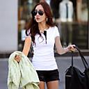 Women's Solid Red/White/Green/Purple T-shirt , V Neck Short Sleeve