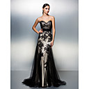 TS Couture® Formal Evening Dress - Black Plus Sizes / Petite A-line Sweetheart Sweep/Brush Train Tulle
