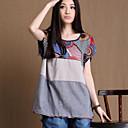De las mujeres Simple Casual/Diario Verano Camiseta,Escote Redondo Estampado Manga Corta Rosa / Gris / Amarillo Fino