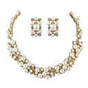 Costume Jewelry Fake Pearl Women Necklace Earrings Set