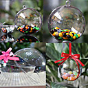 Decorative Clear Plastic Acrylic Fillable Ball Hanging Ornaments 80mm - Pack of 5