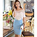 DABUWAWA Women's Lace/Work Round Short Sleeve Color Block Dresses (Chiffon/Elastic/Polyester)