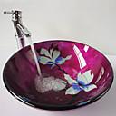 Verre trempé de salle set Sink Red contemporaine (Lavabo et robinet)