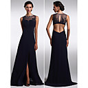 TS Couture Formal Evening Dress - Dark Navy Plus Sizes / Petite Sheath/Column Jewel Floor-length Chiffon / Tulle