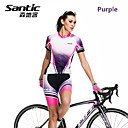 SANTIC Women's Short Sleeve Cycling Jersey + Shorts Polyester+Spandex Breathable Cycling Suit Purple/Pink