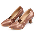Non Customizable Women's Dance Shoes Modern Leatherette/Synthetic Cuban Heel Black/Brown/Pink/Red/Silver