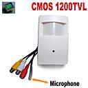 1200tvl CMOS couleur mini caméra de sécurité CCTV caméra cachée pir avec 3.7mm sténopé audio microphone externe