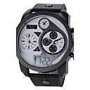 Herre Watch Japansk Quartz Militærklokke LCD / Kalender / Trippel Tidssone / Sportsklokke Lær Band Armbåndsur
