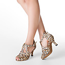Customizable Women's Dance Shoes Latin/Ballroom Satin Customized Heel Leopard