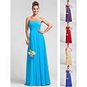 Bridesmaid Dress Floor Length Chiffon Dress Sheath Column Sweetheart Dress with Criss Cross