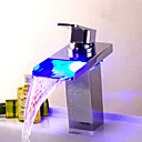 Bathtub Faucet Contemporary LED/Waterfall Brass Chrome/Waterfall Faucet/Bathroom Faucet