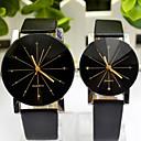 Casal Relógio de Moda Quartz PU Banda Relógio de Pulso Preta