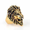 Punk Style Lion Shape Titanium Steel Animal Ring For Men(White,Black,White Gold,Gold)(1Pc)