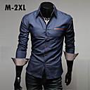 longa camisas de denim mangas de alta qualidade calça jeans bolso couro lavagem com água moda camisa dos homens