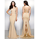 TS Couture Formal Evening Dress - Champagne Trumpet/Mermaid V-neck Sweep/Brush Train Lace / Jersey