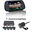 RenEPai® 7 Inch 4 probe Parking Sensors LCD Display Camera Video Car Reverse Backup Radar System Kit Buzzer Alarm 12V