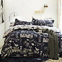 Simple Opulence 100% Cotton Cartoon Printed Love King Queen Duvet Cover Set with 1 Fitted Sheet and 2 Pillowcases