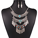 MPL European and American retro multilayer alloy Tassel Necklace Earrings Set leaves