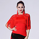 Imported Nylon Viscose with Tassel Latin Dance Tops for Women's Performance (More Colors)