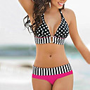 Bikini Prickig / Geometrisk Push-up Kvinnors Halterneck Elastan / Akryl