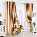 Two Panels Neoclassical Solid Beige / Red / Gold Bedroom Polyester Panel Curtains Drapes