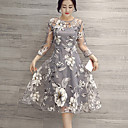 Women's Street chic Floral A Line Dress,Round Neck Knee-length Polyester