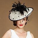 Elegant Flax Women Wedding / Party Hat With Feather And Net(More Colors)