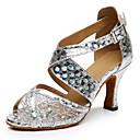 Customizable Women's Dance Shoes Latin Leatherette Stiletto Heel Silver