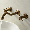 Vægmonteret To Håndtag tre huller in Antik Messing Håndvasken vandhane