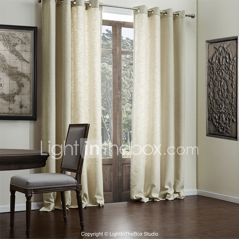 Moderne twee panelen vast beige woonkamer faux linnen gordijnen ...