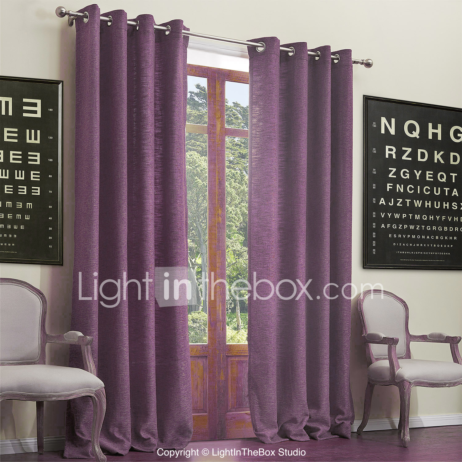 Purple Living Room Curtains Neoclassical Two Panels Solid Living Room Poly Cotton Blend Purple