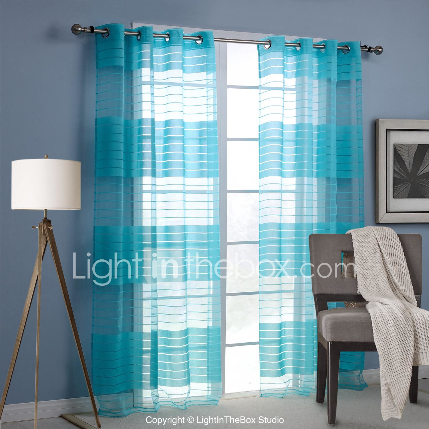 Living Room Curtains Drapes Modern One Panel Stripe Blue Living Room Rayon Panel Curtains