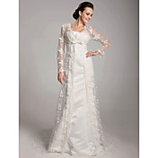 Lanting Sheath/Column Plus Sizes Wedding Dress - Ivory Sweep/Brush Train Square Satin/Lace
