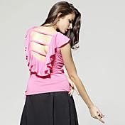 TS 荷叶边短袖圆领T恤 S号 粉色