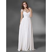 Prom/Military Ball/Formal Evening Dress - White Plus Sizes A-line/Princess V-neck/Off-the-shoulder Floor-length Chiffon