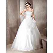 Lanting Ball Gown Strapless Floor-length Tulle Wedding Dress With Flowers