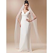 Véus de Noiva Uma Camada Véu Catedral Corte da borda 118,11 em (300 centímetros) Tule Branco MarfimLinha-A, Vestido de Baile, Princesa,