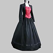 Una Sola Pieza/Vestidos Lolita Clásica y Tradicional Lolita Cosplay Vestido  de Lolita Negro Retazos Poeta Manga Larga Longitud Larga