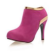 Mujer-Tacón Stiletto-Botas a la ModaVestido-Ante-Negro / Rojo / Gris