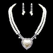 Perlas de imitación encantadora con joyería de diamante de imitación de la Mujer Establecer como collares, aretes